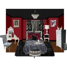 This red & black bedroom is just so scrumptious!