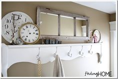Bathroom Storage Solutions - DIY Door Shelf - Finding Home Farms Vintage Windows, Old Windows, Porta Diy, Bathroom Storage Solutions, Diy Casa, Diy Furniture Projects, Pallet Projects, Craft Projects, Project Ideas