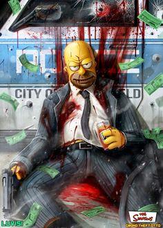 Künstler Dan LuVisi verwandelt bekannte Cartoon-Figuren wie Homer, Mickey Mouse oder Kermit in furchteinflößende Killer. Weitere Bilder findet ihr auf LuVisi