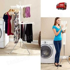 Folding-2-Tier-Hanging-Dryer-Rack-Clothes-Clips-Portable-Arms-Socks-Hosiery-New