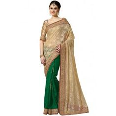 Chic Beige and Lime Green Saree