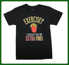 Exercise? I Thought You Said Extra Fries Funny Unisex T-Shirt-Medium - Workout shirts (*Amazon Partner-Link)