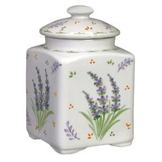Oh!!  This one!!  Why is it $30??? Andrea by Sadek Lavender Porcelain Small Square Covered Tea Jar Canister in Canisters & Jars | eBay
