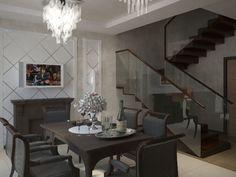 Столовая с камином и лестницей в доме.