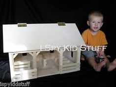 AMISH Wooden Wood Toy Farm A-Frame Horse BARN STABLE w Fence Bucket Hay Bale