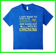 Kids Work In Garden Hang Out With Chickens T-Shirt Funny Gift 6 Royal Blue - Workout shirts (*Amazon Partner-Link)