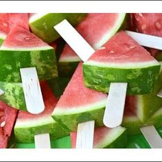 "Such a simple, but fabulous idea! ""Backyard BBQ Birthday Bash"" I love the watermelon slices on Popsicle sticks. Easy for serving! Snacks Für Party, Luau Party, Diy Party, Party Appetizers, Fruit Party, Shower Appetizers, Party Recipes, Fun Fruit, Party Sweets"