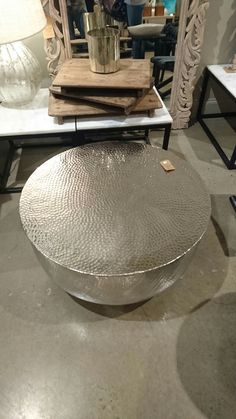 Amazing Silver Drum Coffee Table