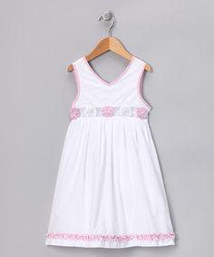 Love this White & Pink Flower Crimee Dress - Infant, Toddler & Girls on #zulily! #zulilyfinds