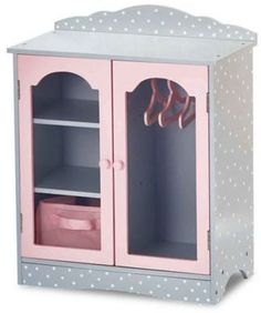 Olivia's Little World - Polka Dots Princess 18 inch Doll Wooden Closet with 3 Hangers, Fits American Girls, Our Generation Dolls, Doll Furniture, Accessories and Clothes Storage - Pink & Gray Poupées Our Generation, Armoire Dressing, Dog Closet, Wooden Closet, Baby Doll Accessories, Large Shelves, Hanging Racks, Grey Cabinets, Cubbies