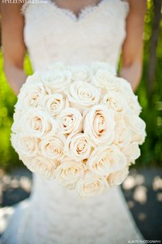 All White Rose Bridal Bouquet