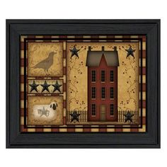 Trendy Decor Primitive Shadowbox By Carrie Knoff, Printed Wall Art, Ready to hang, Black Frame, x - Multi Painting Frames, Painting Prints, Framed Art Prints, Wall Art Prints, Pots, Primitive Painting, Metal Wall Art, Shadow Box, Picture Frames