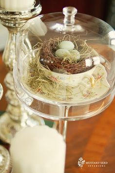 So cute.  This could be made with thrift store finds..cheese dome, plate glued to a candlestick, teacup & saucer, craft/dollar store nest and eggs.