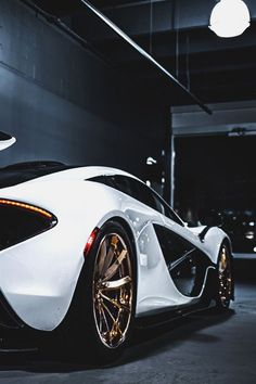 McLaren P1  #lam-a-diamond#mclaren#p1#supercar#white#back#gold#rims#luxury#luxurious#ambition#rich#wealth#golden#black and white#sportscar#dreamcar