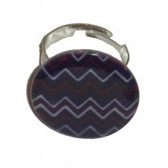 Bague bouton rond en nacre, motif zig-zag,