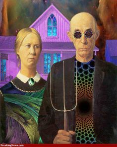 Farmer And His Wife Painting : farmer, painting, Farmer, Wife.., Ideas, American, Gothic, Parody,, Gothic,, Parody