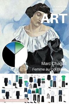 A travel capsule wardrobe in black, blue, and green, inspired by art: Femme au Col Blanc