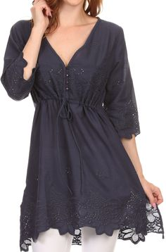 Sakkas Raestelle Long Tall Embroidered Button Up Adjustable Tunic Blouse Top