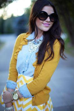 Chambray shirt + Mustard Chevron ruffle cardigan + mustard and white chevron skirt + multi string necklace