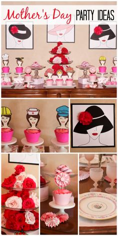 Hats off to Mom at this Mother's Day celebration with a lovely table, cupcakes and art.  See more party ideas at CatchMyParty.com!
