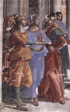 DOMENICO, il GHIRLANDAIO - Presentazione al Tempio della Vergine, dettaglio - affresco - 1486-90 - Cappella Tornabuoni - Basilica di Santa Maria Novella, Firenze: