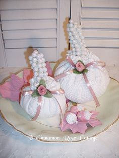 White Doily Pumpkins Set/2 With Pearls And Pink Roses ~ Shabby Cottage Fall Decor