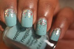 "wet n wild ""I Need A Refresh-Mint "" and ""Confetti Tazmanian Devil"" How To Do Nails, Fun Nails, Mint Nail Polish, Pedicure Ideas, Amazing Nails, Green Glitter, Wet N Wild, All Things Beauty, Beauty Trends"