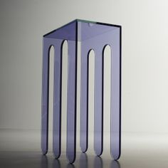 #MILLEPIEDI A.  Contoured console in extra-clear laminated cut glass with transparent coloured film.