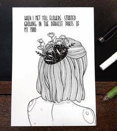"Inktober ⭐️ ""when i met you, flowers started growing in the darkest parts of my mind"" ⭐️ one of my all time favorite quote :-) i had… Kunstjournal Inspiration, Art Journal Inspiration, Art Inspo, Drawing Sketches, Art Drawings, Broken Drawings, Pen Art, Art Sketchbook, Doodle Art"