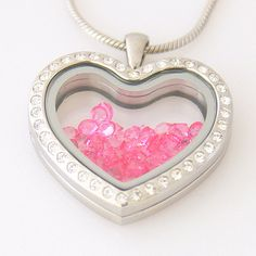 Floating Charm Heart Pendant Locket w/ White by YourCharmedStory