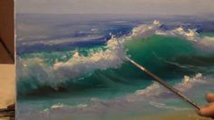 Oil Painting Seascape Wave Techniques - Lesson and Class. How to paint ocean waves. Oil painting lessons teach techniques on how to bring depth, motion and i. Acrylic Painting Techniques, Painting Videos, Art Techniques, Online Painting, No Wave, Acrylic Painting Tutorials, Acrylic Art, Beach Scenes, Crashing Waves
