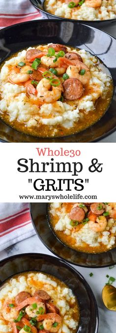 """& """"Grits"""" A grain free & cleaner version of the classic southern comfort food dish! Paleo, gluten free, and grain free & cleaner version of the classic southern comfort food dish! Paleo, gluten free, and Clean Eating For Beginners, Clean Eating Recipes, Clean Eating Snacks, Clean Foods, Healthy Eating, Paleo Whole 30, Whole 30 Recipes, Whole 30 Meals, Whole 30 Drinks"""