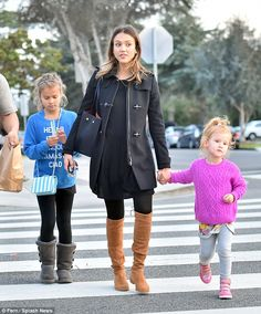 Family first: The actress was pictured with her little girls in Santa Monica earlier in January