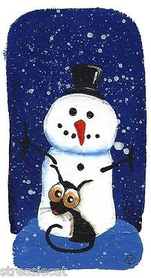 Original Watercolor Folk Art Whimsical Snow Scene Snowman Cat Hug not ACEO | eBay