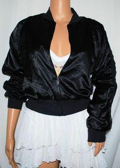 NEW Victoria's Secret Sexy Black Satin Zip Front Jacket S ruched long-sleeves #VictoriasSecret #BasicJacket