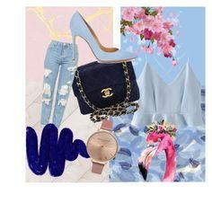 """""""Paleta de cores - rosa e azul"""" by giovanadevisate on Polyvore featuring moda, WithChic, Chanel, Topshop, Obsessive Compulsive Cosmetics, Gianvito Rossi e Olivia Burton"""