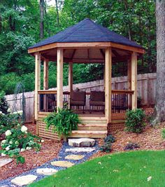 This Gazebo was built in an area that would not normally be used, on a hill, therefore making good use of the outdoor living space