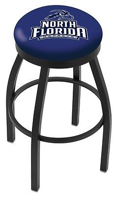North Florida Ospreys HBS Black Swivel Bar Stool with Blue Cushion