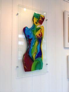 'Harlequin nude' fused glass 50cm x 100cm