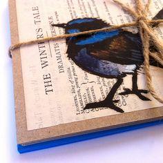 Blue Wren Handpainted Linoprint Greeting Cards Pack of 5 - Made in Australia. $25,00, via Etsy.
