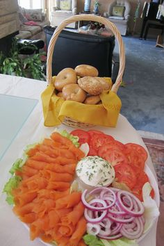 bridal shower - smoked salmon platter for mini bagels