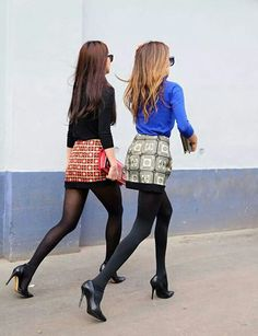 Fashion friends. Blouse and mini skirt. Perfect outfit