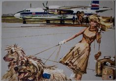 poster by Janusz Grabiański Vintage Images, Vintage Art, Vintage Travel Posters, Vintage Airline, Orbis, City Scene, Air Show, Air Travel, Illustrators
