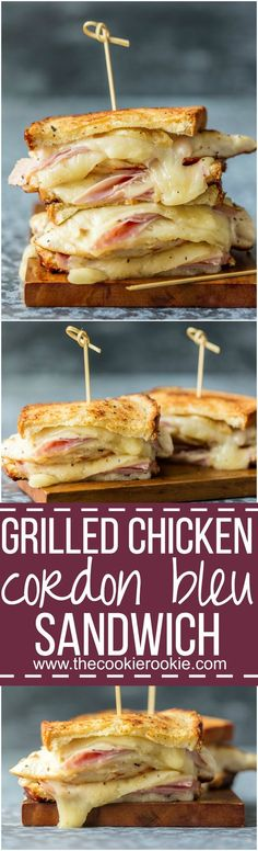 This GRILLED CHICKEN CORDON BLEU SANDWICH is so easy and so full of flavor! Kick your sandwich game up a notch with layers of grilled chicken, creamy swiss, honey ham, and buttered bread. via @beckygallhardin