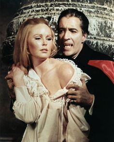 Classic pic of the beautiful Veronica Carlson and Christopher Lee from Dracula Has Risen from the Grave.