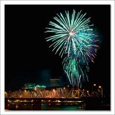 Rose Festival fireworks over Waterfront Park Portland Oregon