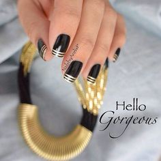 Black and Gold Stripe French Nails