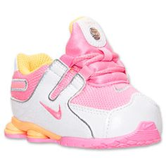 Girls' Toddler Nike Shox NZ Running Shoes | FinishLine.com | Pink Glow/White/Metallic Silver