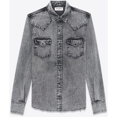 Saint Laurent Western-style Shirt ($930) ❤ liked on Polyvore featuring men's fashion, men's clothing, men's shirts, men's casual shirts, jackets, tops, yves saint laurent mens shirt, mens western shirts and western style mens shirts