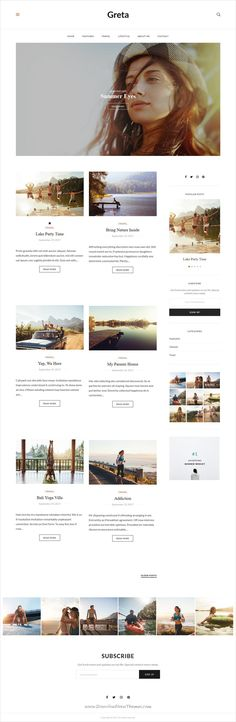 Greta is clean and modern design 5in1 responsive #WordPress theme for creative #blog and #bloggers website to live preview & download click on Visit Fashion Website Design, Design Your Own Website, Website Design Layout, Homepage Design, Wordpress Website Design, Responsive Web Design, Wordpress Theme Design, Website Design Inspiration, Layout Site